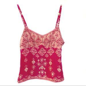 GAP cami crepe silk pink boho print sequin S